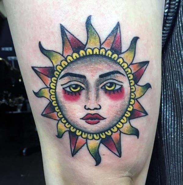 A captivating sun tattoo design on arm for Ladies