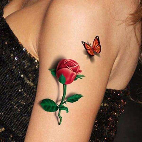 A lovely 3D tattoo design on side shoulder for Girls and women