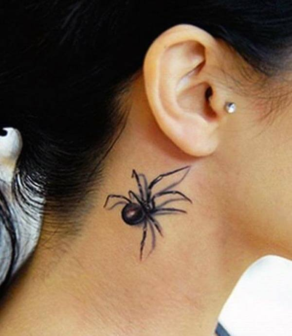 A catchy 3D tattoo design on side neck for ladies