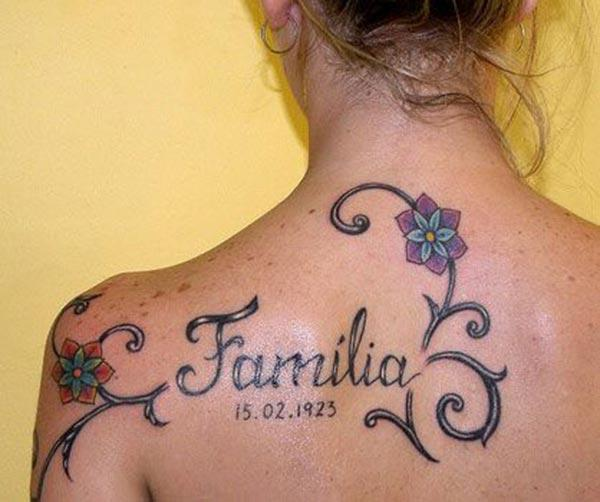 A beautiful family tattoo design for Ladies to make their back attractive