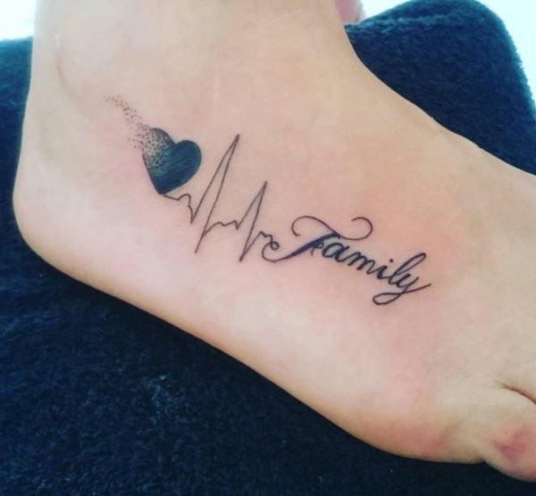 A heartwarming family tattoo design on foot for women