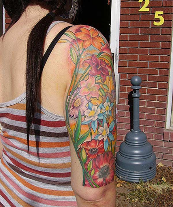 An attractive floral design on half sleeve for Girls
