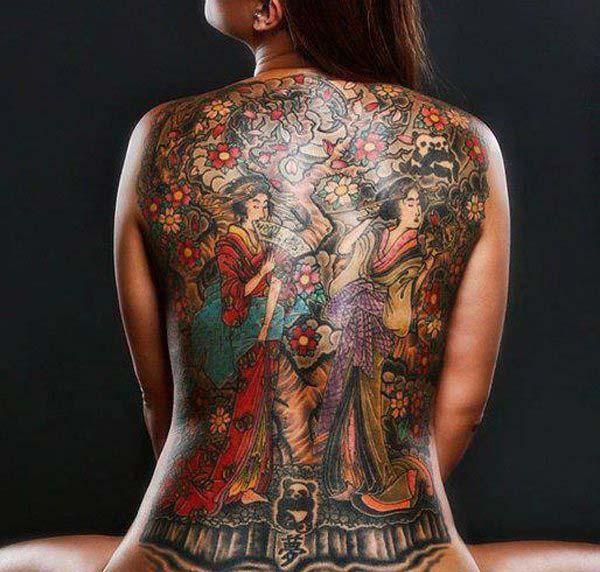 Čínsky dizajn tetovania na chrbte pre ženy
