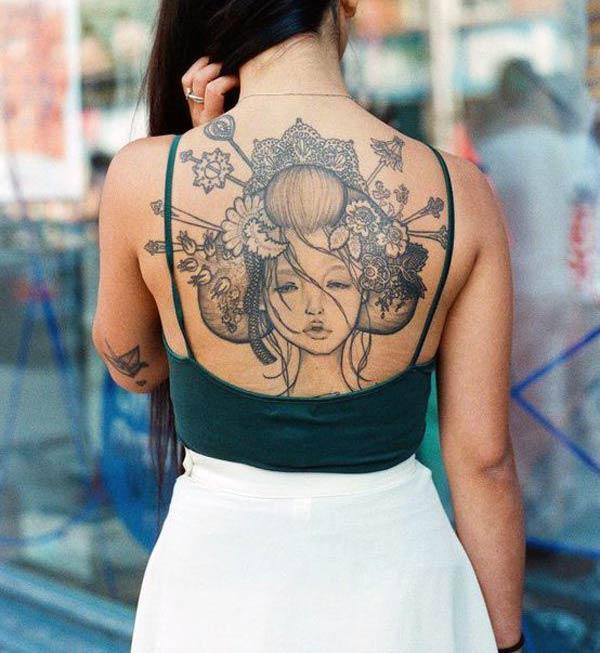 Oko-chytľavé japonské tetovanie design na chrbte pre dievčatá a ženy