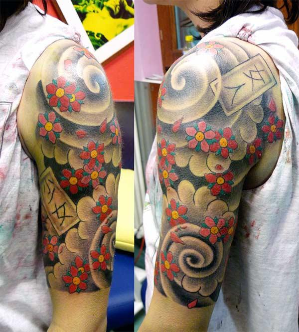Mielenkiintoinen japanilainen tatuointirakenne olkapäälle tytöille ja naisille