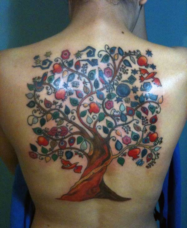 A colourful tree tattoo design on back for women
