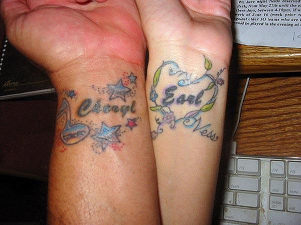 A romantic couple wrist tattoo design for Women
