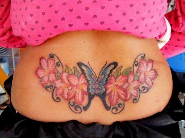 An attractive lower back tattoo design for girls