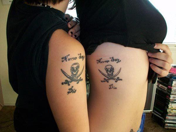 A charming matching tattoo idea for Girls and women