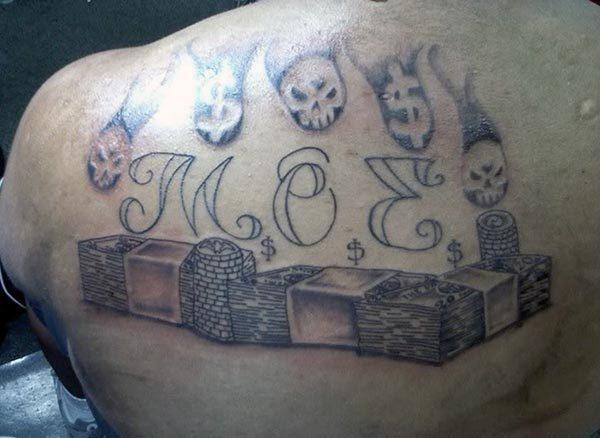 An impressive money tattoo design on back for Girls