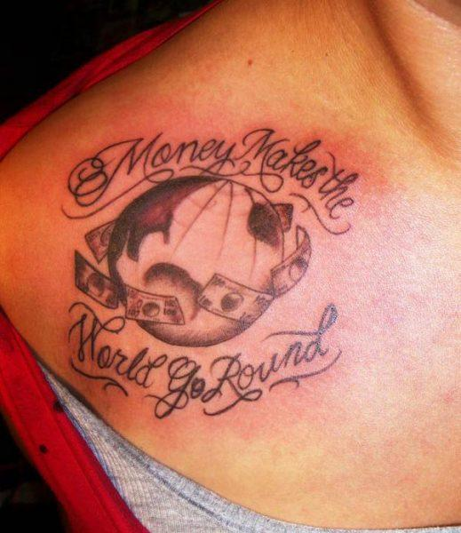 A captivating and interesting money tattoo design for women