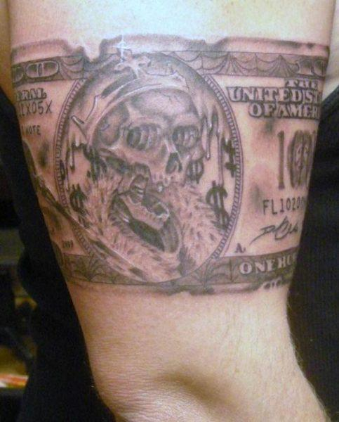 An awesome money tattoo design for ladies